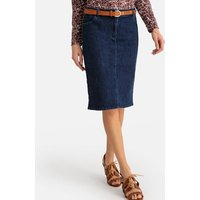 Stretch Denim Straight Skirt in Knee-Length with Pockets