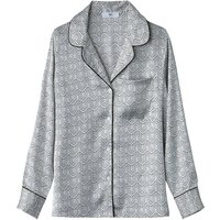 Satin Look Geometric Print Shirt with Tailored Collar