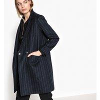 Striped Wool Blend Coat