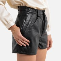 Faux Leather Shorts with Side Pockets.