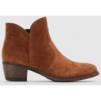 Leather Ankle Boots with Western Seaming
