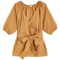 shop for Cotton/Linen Wrapover Blouse with 3/4 Length Sleeves at Shopo