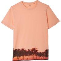 T-shirt arancione uomo T-shirt scollo rotondo motivo fantasia Slub