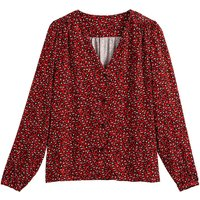 shop for Animal Print Blouse with V-Neck and Long Sleeves at Shopo