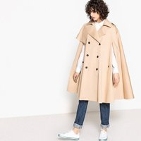 Stretch Cotton Cape with Trench Styling
