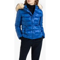 Short Padded Puffer Jacket with Faux Fur Hood