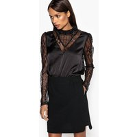 Bodysuit with Lace Sleeves