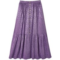 shop for Jacquard Buttoned Tiered Midaxi Skirt in Satin Feel at Shopo