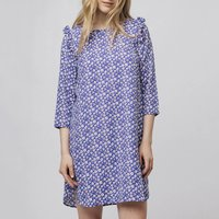 shop for Floral Print Short Shift Dress with Ruffled Shoulders at Shopo