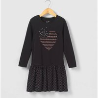 Pleated Dress with Heart Motif, 3-12 Years