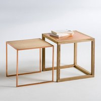 Nest of 2 Elori Oak/Copper Side Tables