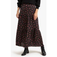 Floral Print Boho Maxi Skirt with Tiers