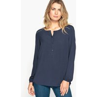 Plain Crew-Neck Blouse with Long Sleeves