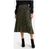 Pleated Knee-Length Skirt in Snake Print.