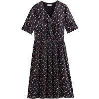 shop for Satin Ruffled Wrapover Midi Dress with Short Sleeves at Shopo