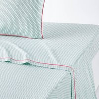 Duo Contrast Trim Cotton Percale Flat Sheet
