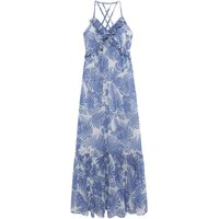Olivia Ruffled Floral Print Maxi Dress with Shoestring Straps