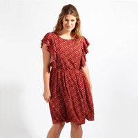 Printed Dress with Ruffled Sleeves