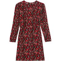 shop for Floral Bodycon Mini Dress with Crew Neck and Long Sleeves at Shopo