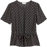 shop for Polka Dot Print Blouse with Tie-Waist and Short Sleeves at Shopo