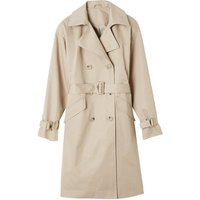 Long Buttoned Trench Coat in Cotton Mix