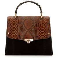 Leather Handbag with Snakeskin Effect Flap and Top Handle