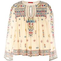 Long-Sleeved Blouse with Embroidered Flowers
