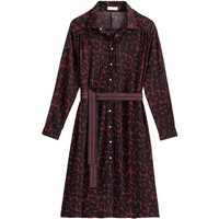 shop for Leopard Print Shirt Dress in Mid-Length with Long Sleeves and Tie-Waist at Shopo