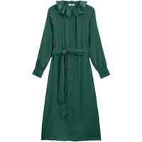 shop for Polka Dot Jacquard Button-Through Midi Dress with Ruffles and Long Sleeves at Shopo