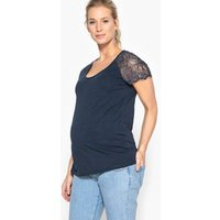 Maternity T-Shirt with Lace Sleeves