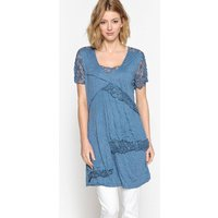 Crinkled Jersey & Lace Tunic