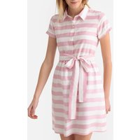 shop for Striped Polo Shirt Dress with Tie-Waist at Shopo