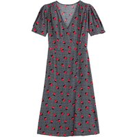 shop for Floral Wrapover Midi Dress with Short Puff Sleeves at Shopo