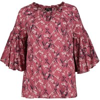 shop for Floral Print Blouse with Ruffled 3/4 Length Sleeves at Shopo
