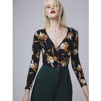 T-shirt Nero fantasia donna Body effetto cache coeur fantasia a fiori