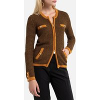 Cotton Mix Zipped Cardigan in Chunky Knit