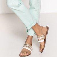 Sandali blu;bianco / beige donna Sandali pelle dettaglio frange