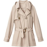 Short Hooded Trench Coat with Pockets