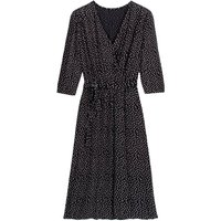 shop for Wrapover Midi Dress in Polka Dot with Long Sleeves at Shopo