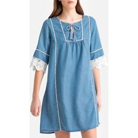 shop for Embroidered Trim Shift Dress with Tie-Neck at Shopo