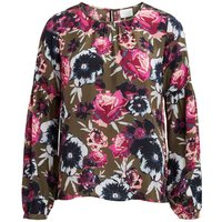 Printed Long-Sleeved Round Neck Blouse