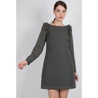 Long-Sleeved Polka Dot Dress with Ruffles