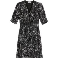 shop for Animal Print Wrapover Dress with Short Puff Sleeves at Shopo