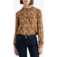 shop for Floral Print Ruffled Blouse with Grandad Collar and Long Sleeves at Shopo