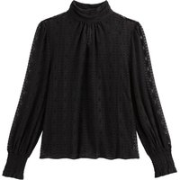 shop for Lace High-Neck Blouse with Long Sleeves in Cotton Mix at Shopo