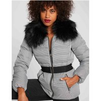 Padded Jacket with Faux Fur Hood and Belt