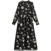 shop for Floral Print Maxi Dress with Transparent Sleeves and Ruffled Waist at Shopo