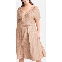 shop for Striped Wrapover Midi Dress at Shopo