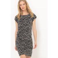 Short-Sleeved Dress in Shiny Fabric