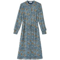 shop for Recycled Midi Shirt Dress in Floral Print with Long Sleeves at Shopo